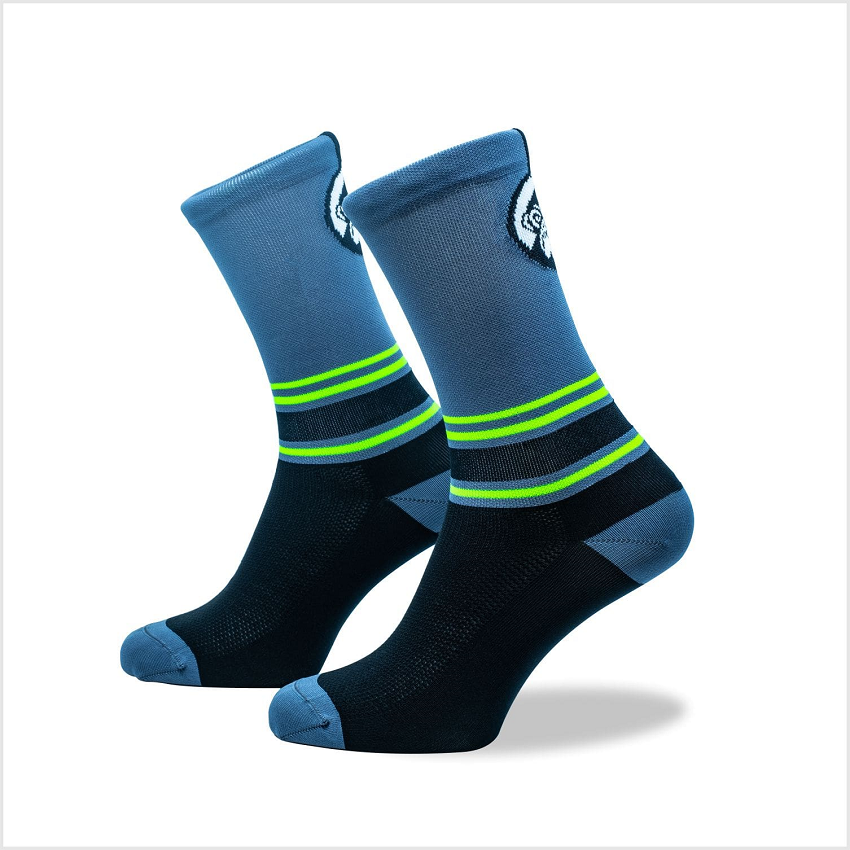 Grumpy Monkey - Stripes Grey & Green Socks